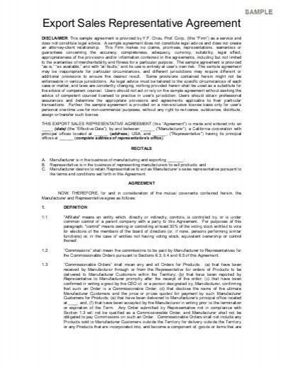 Manufacturer Representative Agreement Template. export sales ...