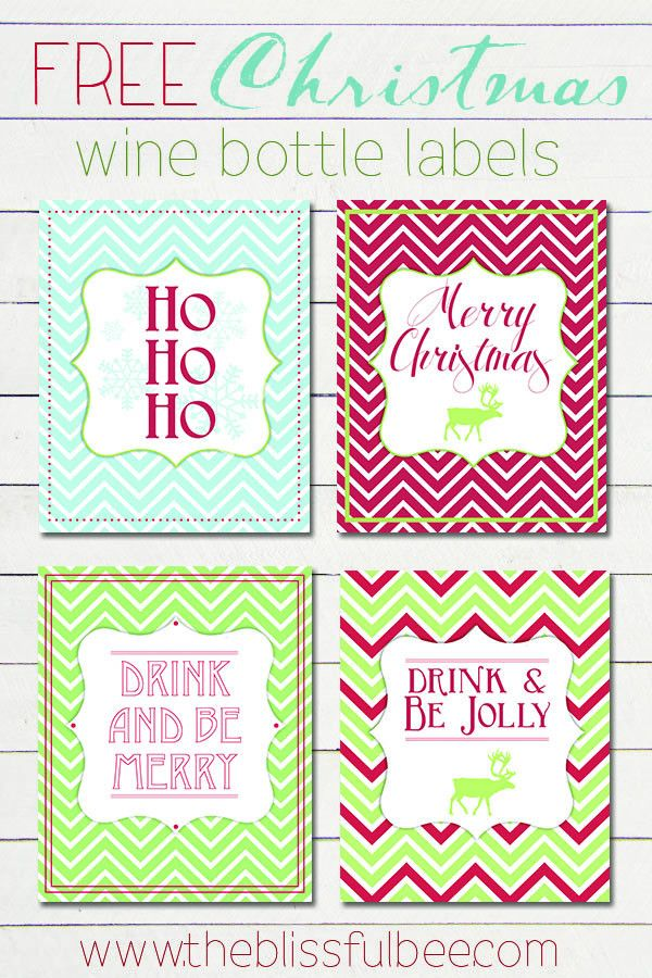 FREE Christmas Wine Bottle Labels – The Blissful Bee
