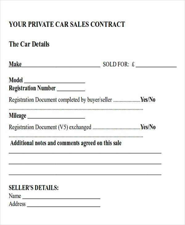 Car Sales Contract And Agreement Template Examples : Vlcpeque