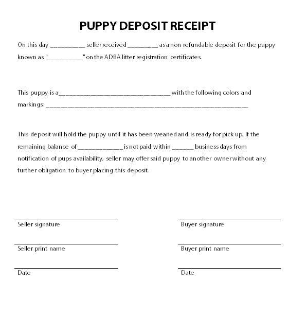 Car Deposit Receipt Template