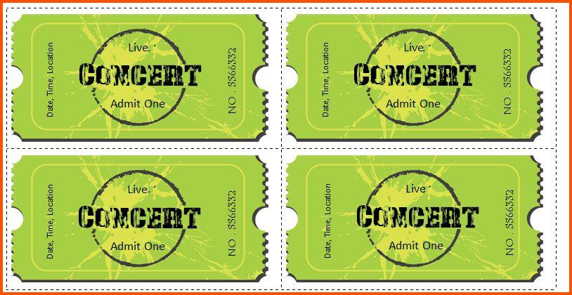 7+ concert ticket template   Survey Template Words