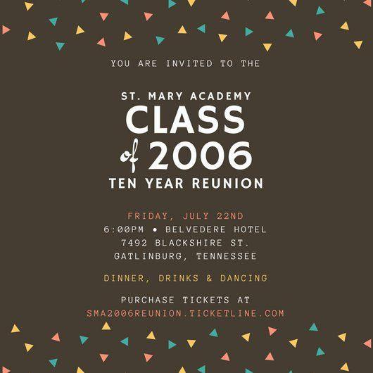 Triangle Confetti Class Reunion Invitation - Templates by Canva