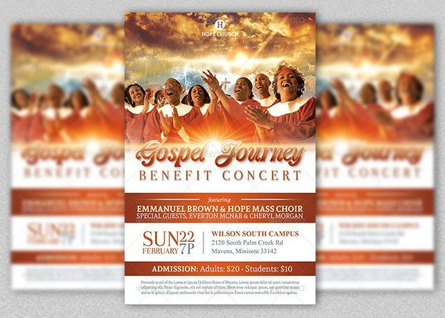 Gospel Benefit Concert Church Flyer Template | Inspiks Market