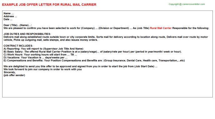 Cover Letter For Postal Carrier