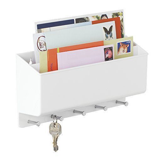 mDesign Mail Letter Holder Key Rack Organizer for Entryway Kitchen ...
