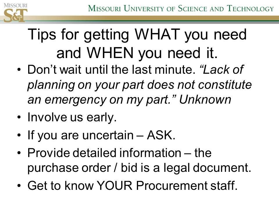 Missouri S&T Campus Procurement Services G5C Campus Support ...