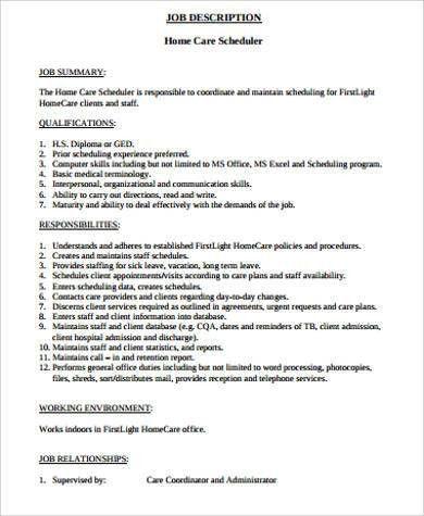 Scheduler Job Description Sample - 11+ Examples in Word, PDF