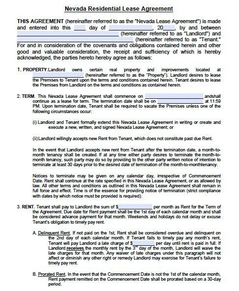 Free Nevada Residential Lease Agreement Form – PDF Template