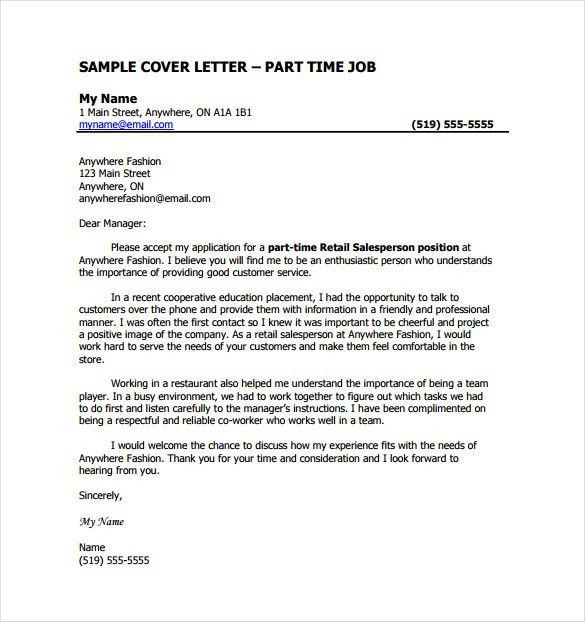 Job Cover Letter Template – 9+ Free Word, PDF Documents Download ...