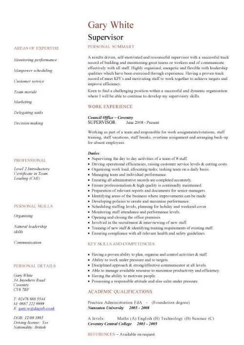 Supervisor CV sample