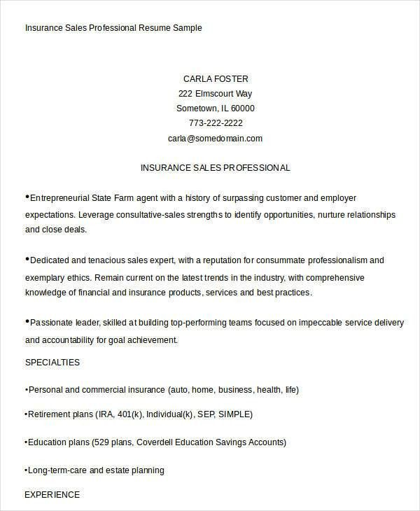 Sales Resume Template - 24+ Free Word, PDF Documents Download ...