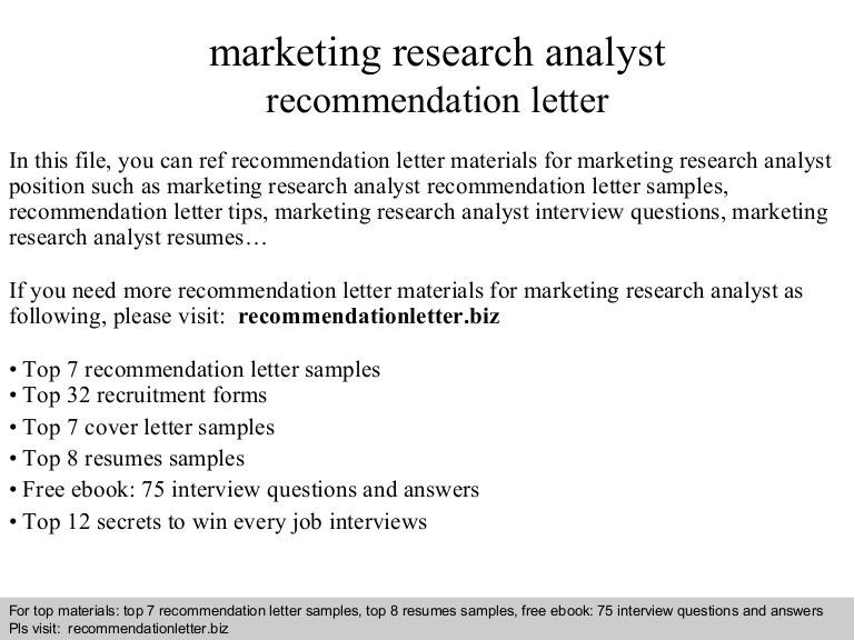 Marketing research analyst recommendation letter