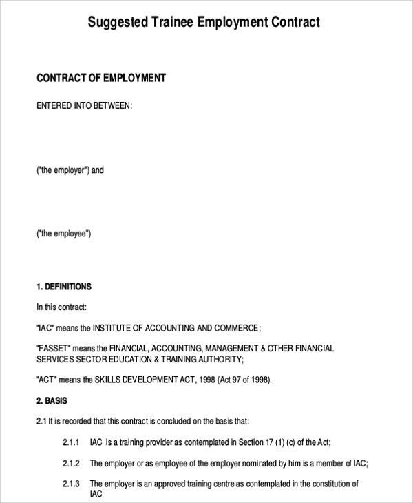 7+ Employee Contract Templates - Free Samples, Examples Format ...