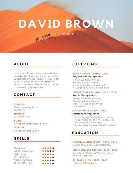 Orange and Black Colorful Photography Resume - Templates by Canva