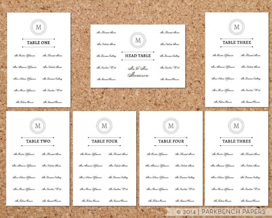 Seating Chart Template - Classic Monogram Design - DIY Editable ...