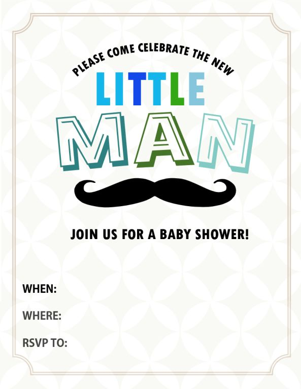Free Mustache Baby Shower Invitation Templates - Themesflip.Com