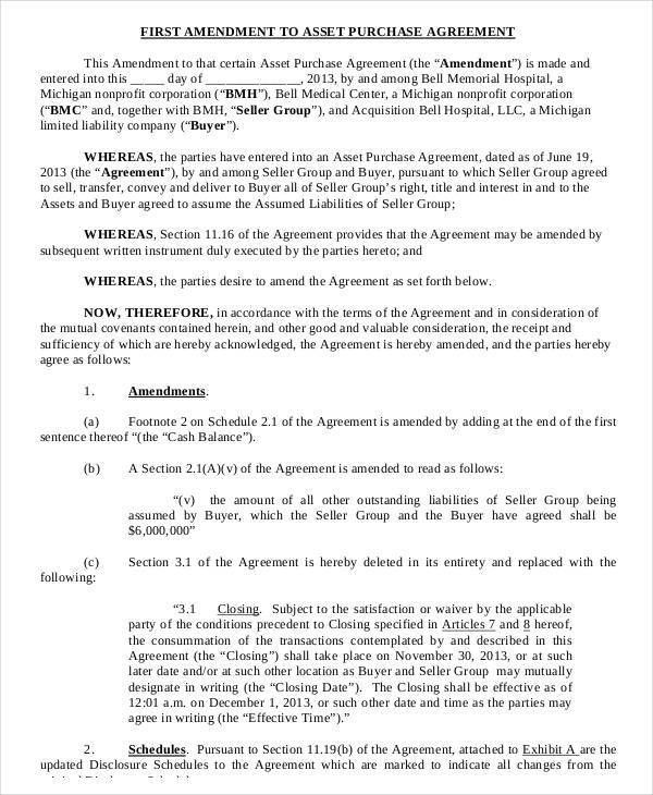 10+ Asset Purchase Agreement Form Sample - Free Sample, Example ...