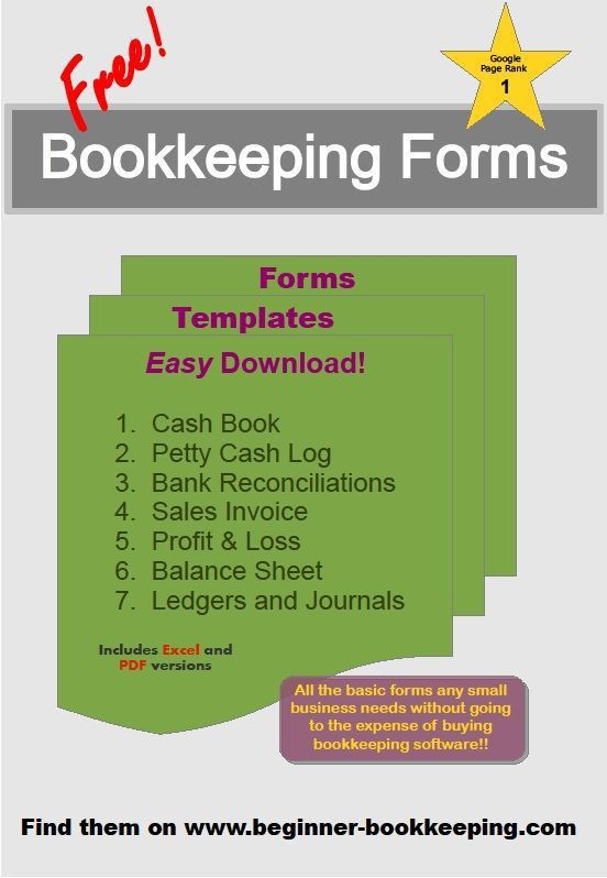 Bookkeeping Forms and Bookkeeping Templates | Business, Free and ...
