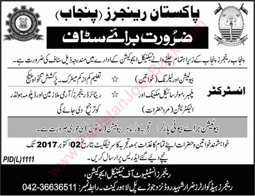 Rangers Institute of Technical Education Lahore Jobs September ...