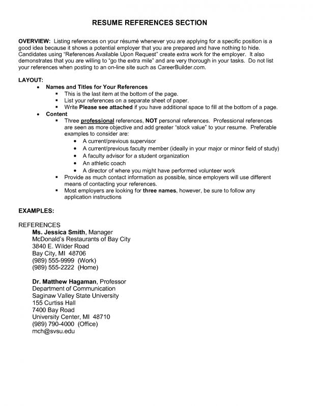 Resume samples with reference page