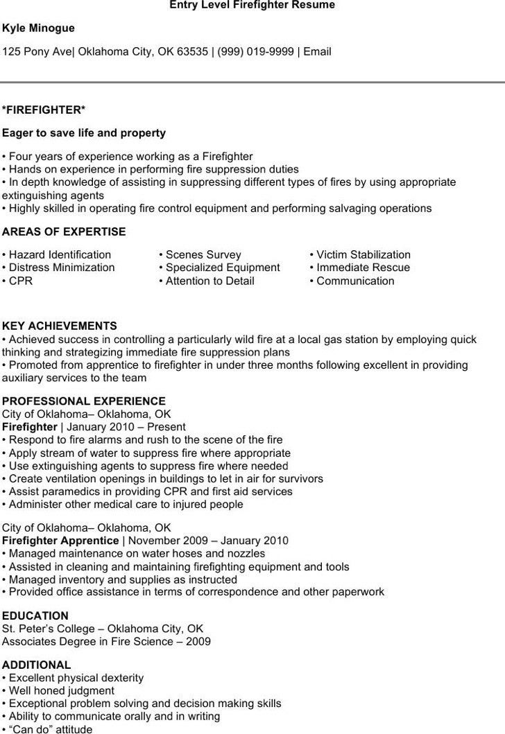 firefighter resume templates resume example best 25 firefighter