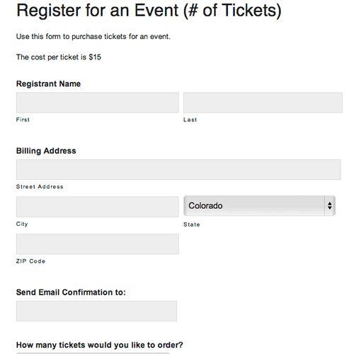 Online Event Registration Form (Tickets) » Digital PTO Sample Forms