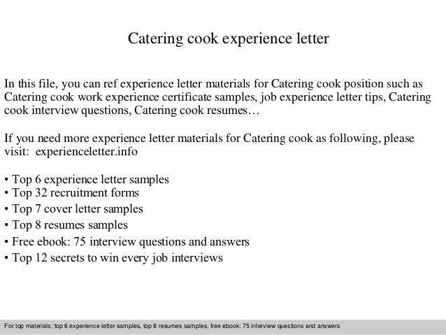 Samples of experience certificate work experience certificate catering cook experience letter 1 638gcb yadclub Image collections