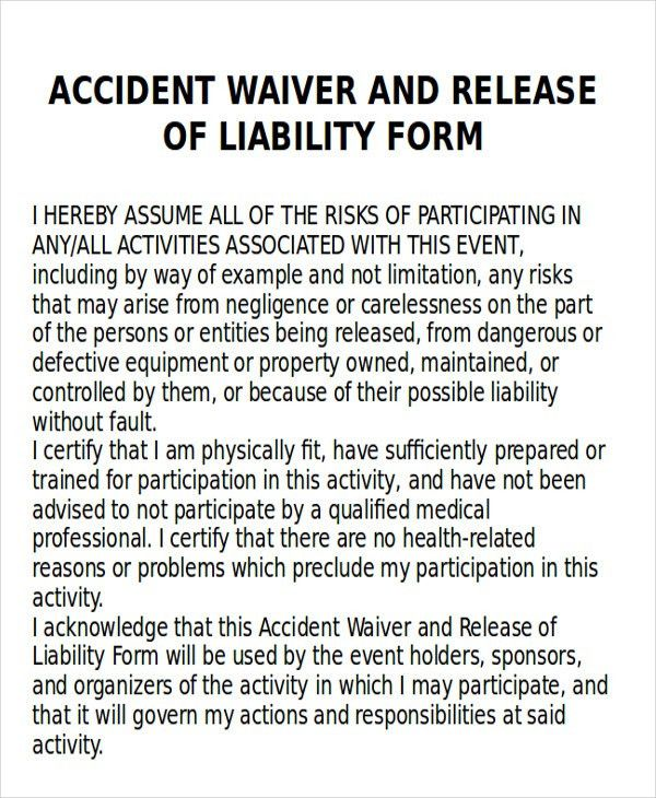Accident Release Form. Sample Liability Release Form - 8+ Examples ...