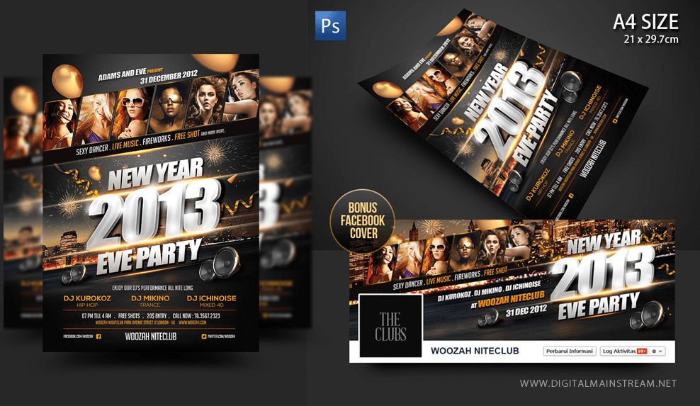 New Years Eve Party Flyer Poster Template by dennybusyet on DeviantArt