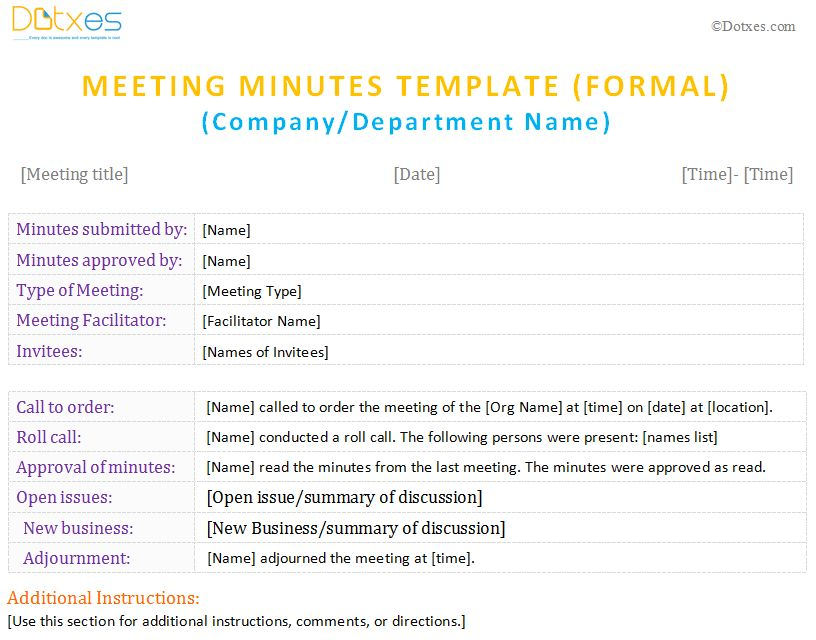 Meeting Minutes Form ( For Word) - Dotxes