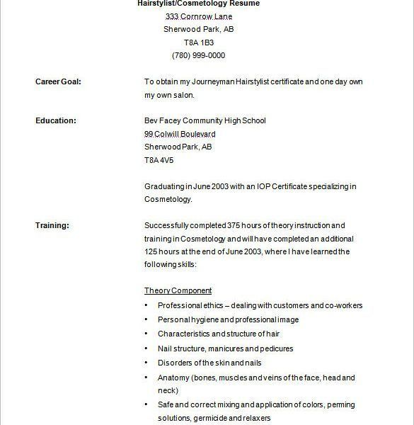 Fancy Design Cosmetology Resume Samples 6 Hair Stylist Resume ...