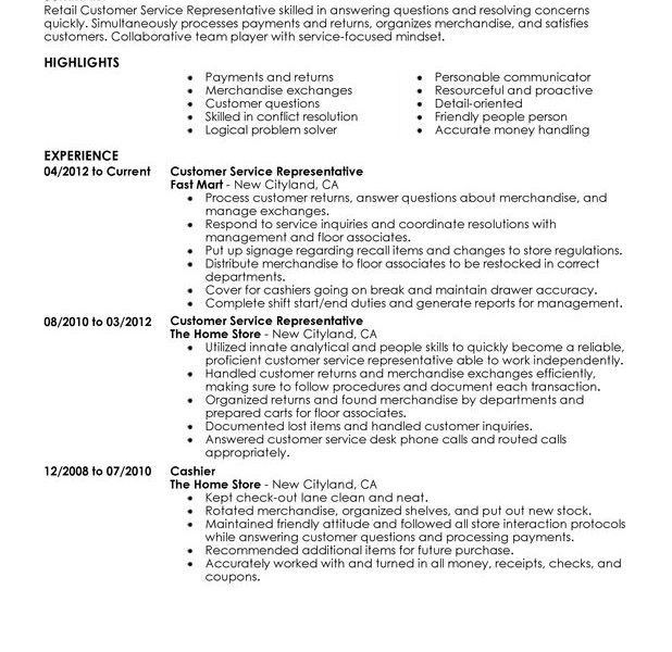 Resume Customer Service Representative - Template Examples