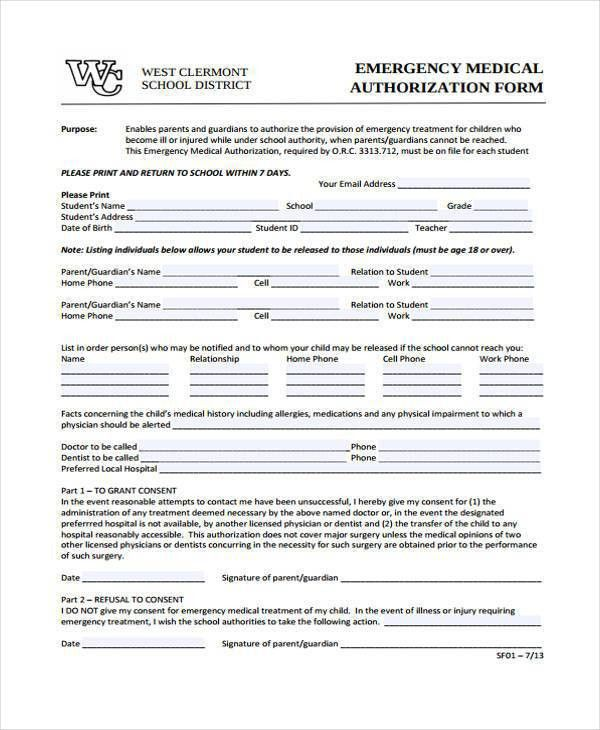 Medical Form. Emergency Medical Authorization Form Medical Form ...