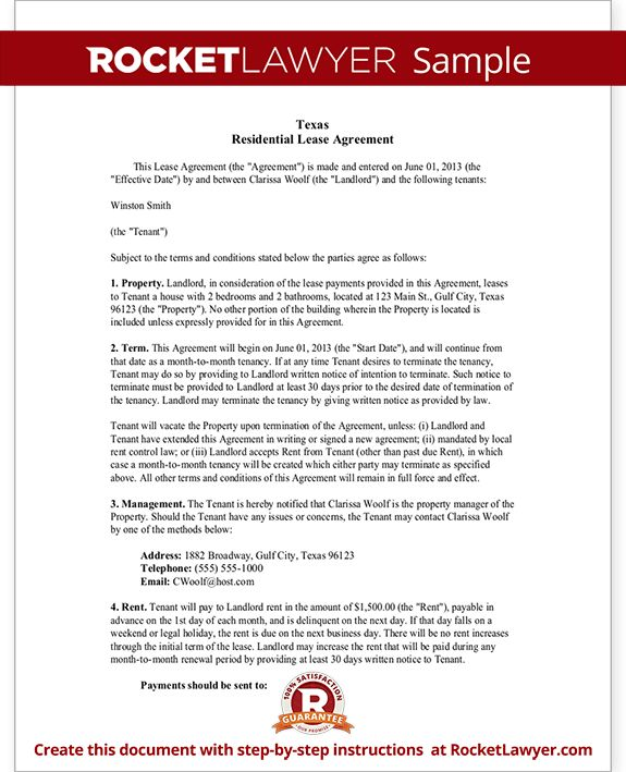 Texas Lease Agreement Form - Residential Lease Agreement TX