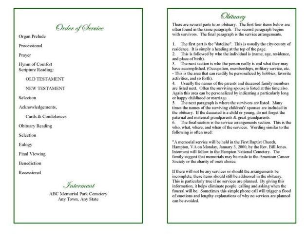 Blank Funeral Program Template with Order of Service and Poem ...