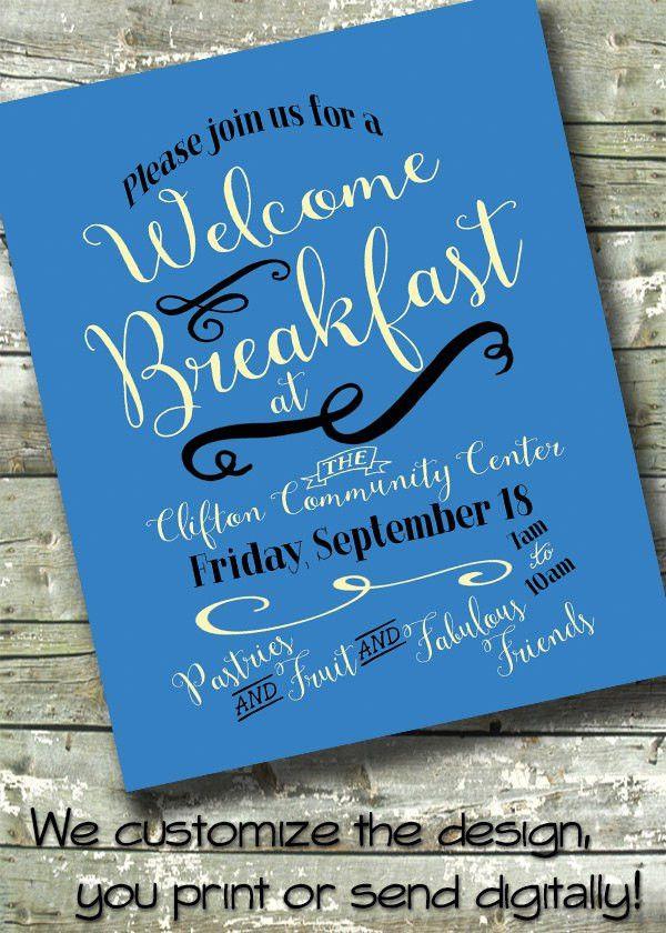 Welcome Breakfast ~ Morning Benefit ~ Meet & Greet ~ 5x7 Invite ...