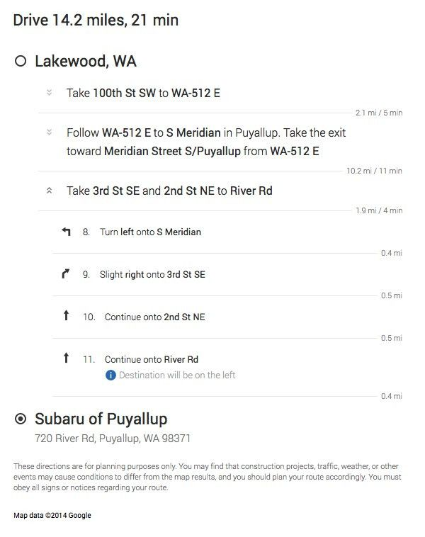 Directions From Lakewood To Puyallup | Washington Subaru Sales ...