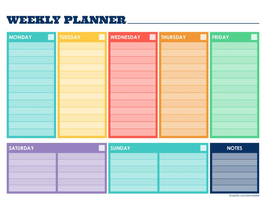 Weekly Planner Template - Free Printable Weekly Schedule Template ...