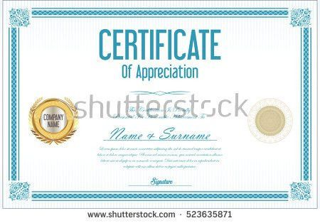 Certificate Participation Template Sport Theme Gold Stock Vector ...