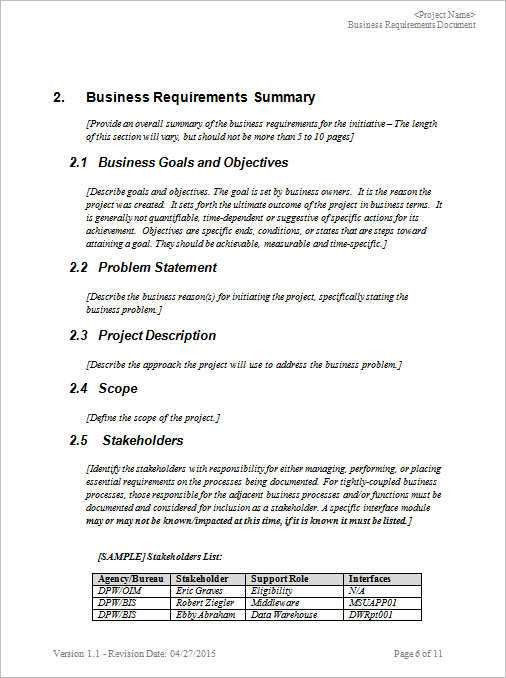 11+ Business Requirements Documents || Free & Premium | Creative ...