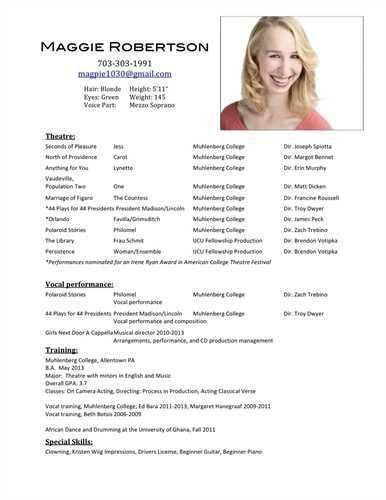 actors resume template acting resume templates free word pdf