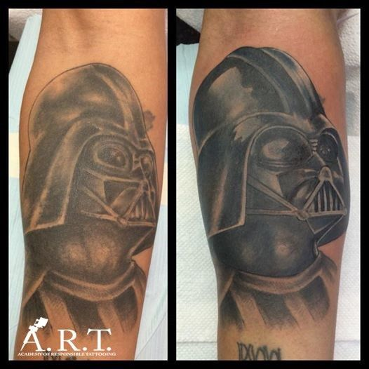 a Darth Vader tattoo fixed by our shop artist and manager ...