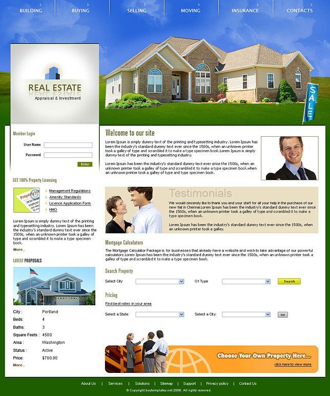 Download web templates real estate category