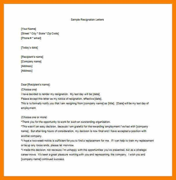 Free Sample Resignation Letter Template 47 [Template.billybullock.us ]