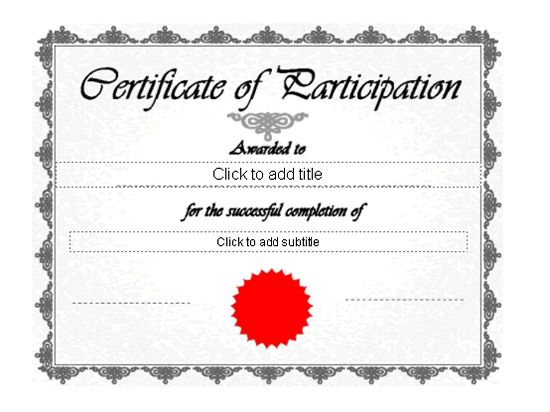 Certificate Of Participation - Free Certificate Templates In ...