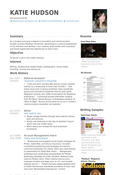 Editorial Assistant Resume samples - VisualCV resume samples database