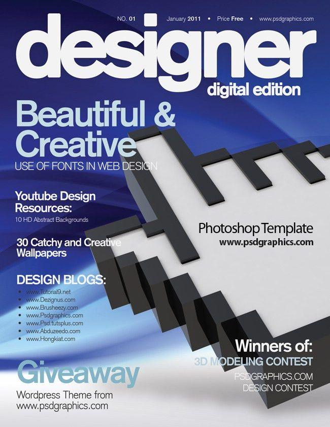 Blue magazine cover design, PSD print template | PSDGraphics