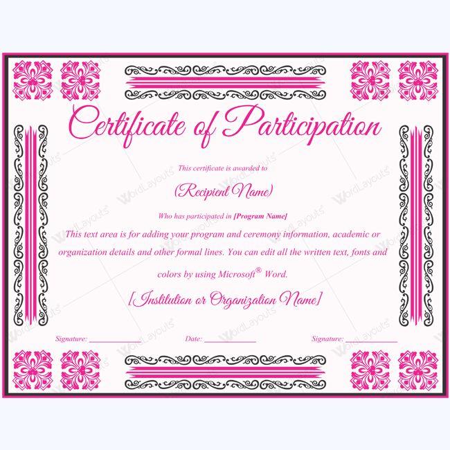 Participation Certificate #certificate #certificatetemplate ...