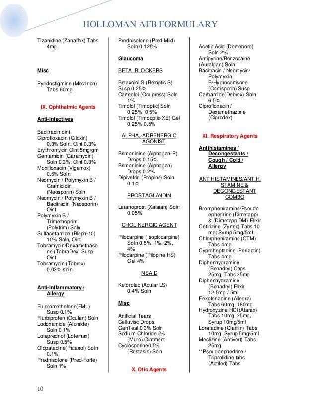 Holloman AFB Formulary as of 20 feb 2013