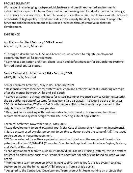 Technical Architect Resume | Jobs.billybullock.us
